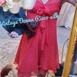 Vintage silk Donna Ricco red polka dot dress XS